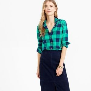 J. Crew Shrunken Boy Shirt Emerald Buffalo Check